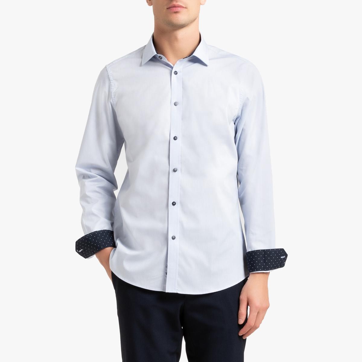 Camisa slim con detalles de lunares