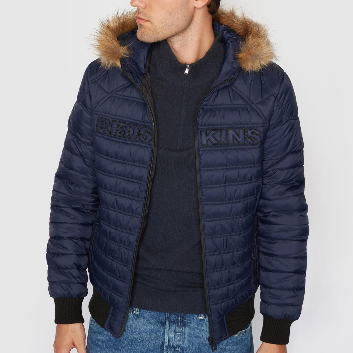 Стеганая куртка с капюшономМатериал : 100% Нейлона Марка : RedskinsЗастежка на молнию.Съемный капюшон. Искусственный мех .<br><br>Цвет: темно-синий<br>Размер: L