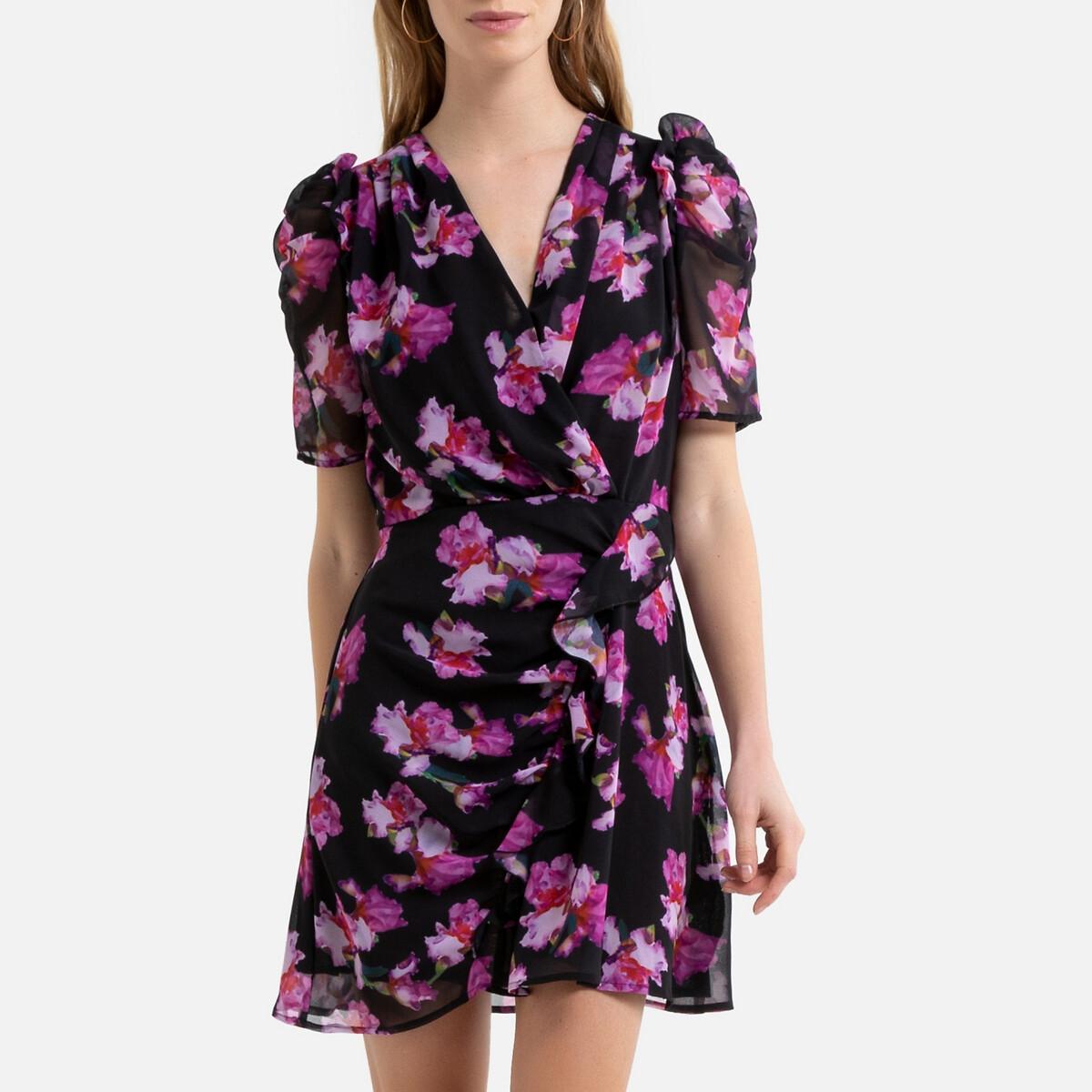 Платье La Redoute Короткое с запахом с цветочным рисунком 46 (FR) - 52 (RUS) фиолетовый платье la redoute с запахом и цветочным рисунком 46 fr 52 rus другие