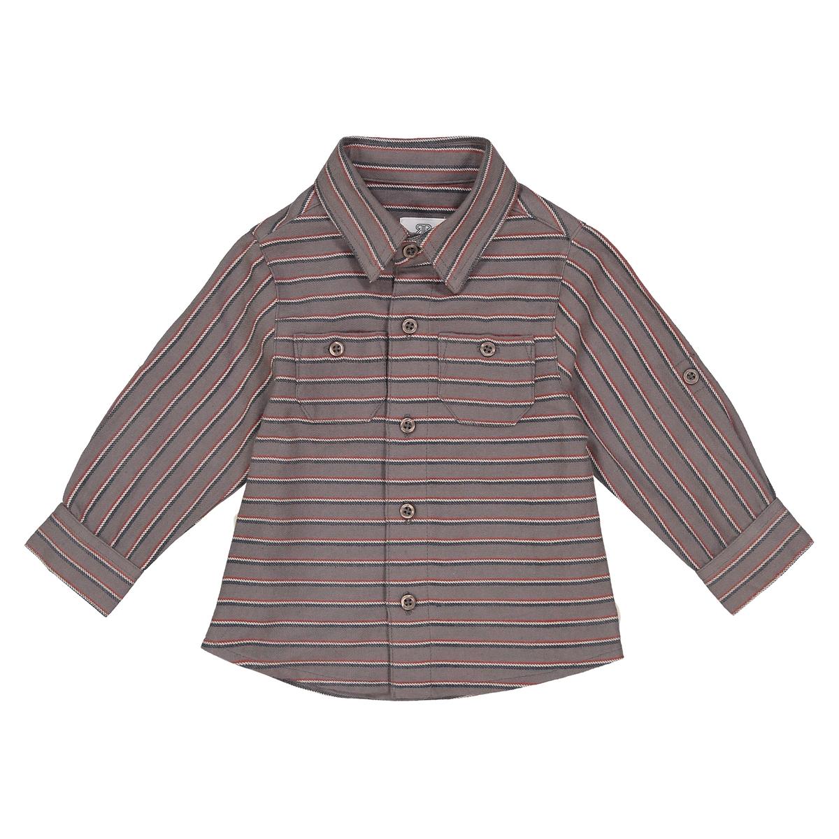 Рубашка La Redoute В полоску с длинными рукавами мес - лет 6 мес. - 67 см зеленый свитшот la redoute с рисунком спереди мес лет 1 мес 54 см желтый