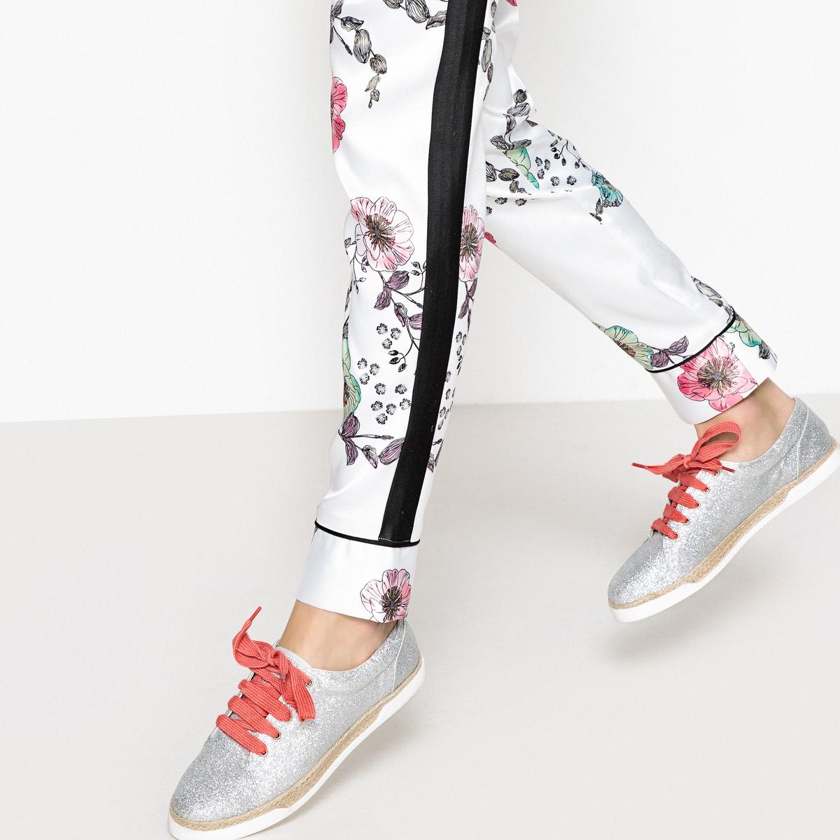 Zapatillas con brillantes, suela de cuerda