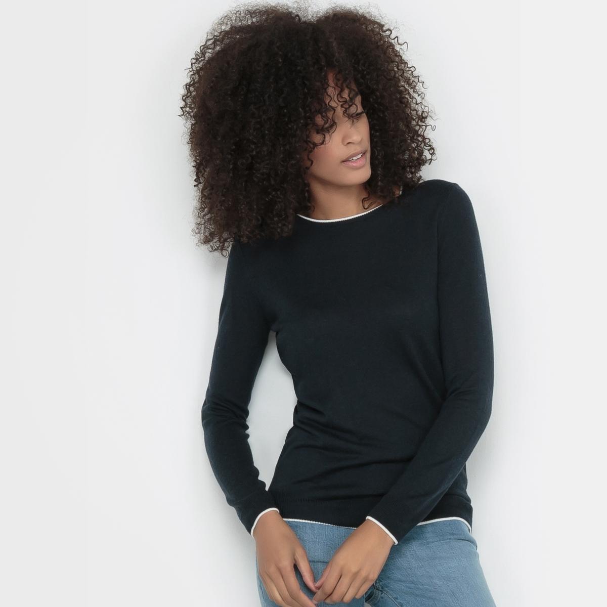 Пуловер с круглым вырезом из смешанной ткани с шерстьюПуловер. Длинные рукава, круглый вырез. Края выреза и рукавов контрастного цвета в рубчик. Смешанная ткань с шерстью. Состав и описаниеМарка : R Essentiel.Материал : 50% вискозы, 40% акрила, 10% шерсти мериноса.Длина : 65 см100% применяемой шерсти мериноса получено без процедуры мьюлесинга, что гарантирует благополучие животных.УходМашинная стирка при 30 °C   Стирать с вещами схожих цветов Утюжить на низкой температуре с изнаночной стороныМашинная сушка запрещенаСухая (химическая) чистка разрешена.<br><br>Цвет: красный,серый меланж,синий морской,слоновая кость,черный<br>Размер: 50/52 (FR) - 56/58 (RUS).46/48 (FR) - 52/54 (RUS)