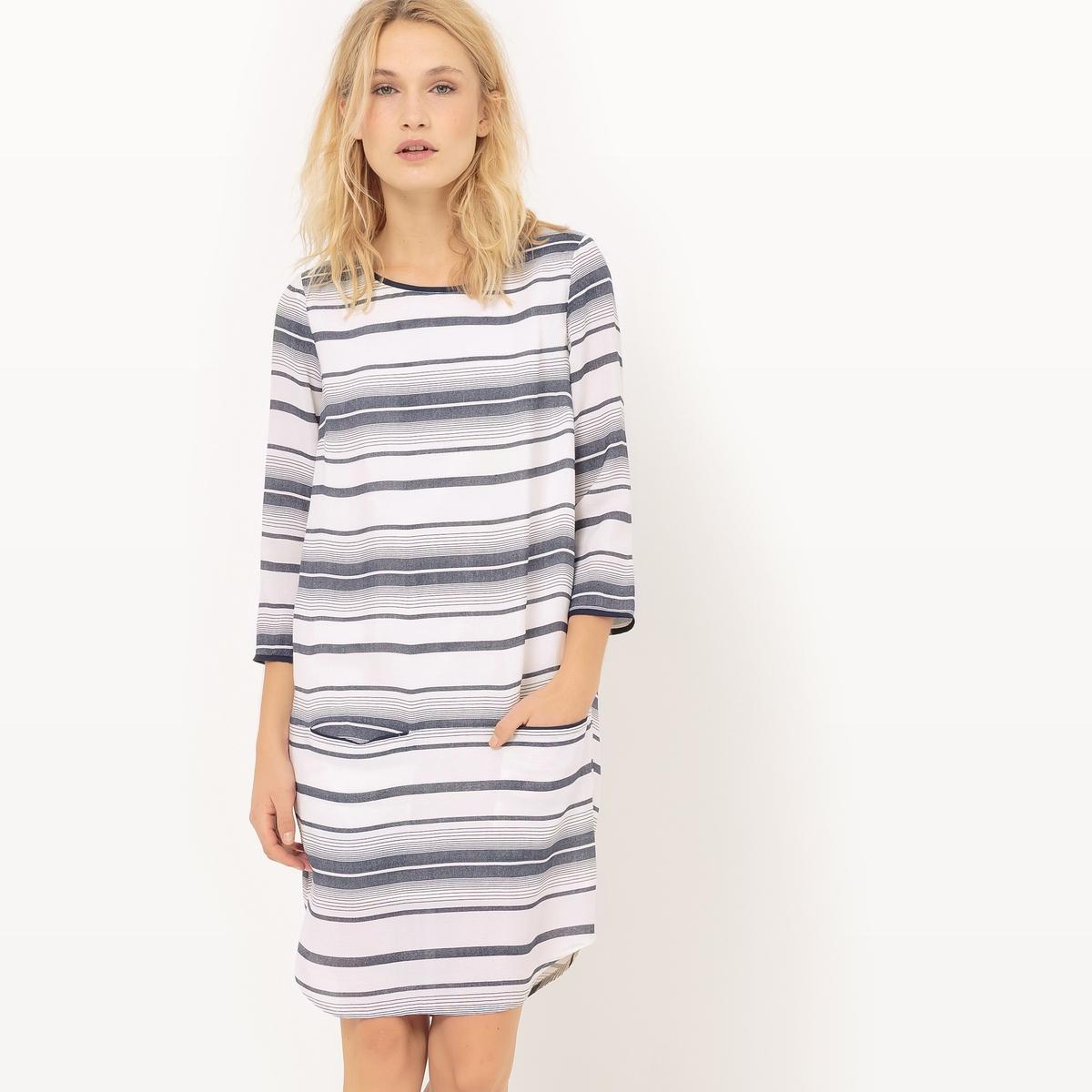 Платье в полоску с длинными рукавамиМатериал : 100% вискоза  Длина рукава : рукава 3/4  Форма воротника : круглый вырез Покрой платья : короткое Рисунок : принт   Длина платья : короткое<br><br>Цвет: в полоску экрю/синий<br>Размер: S.L