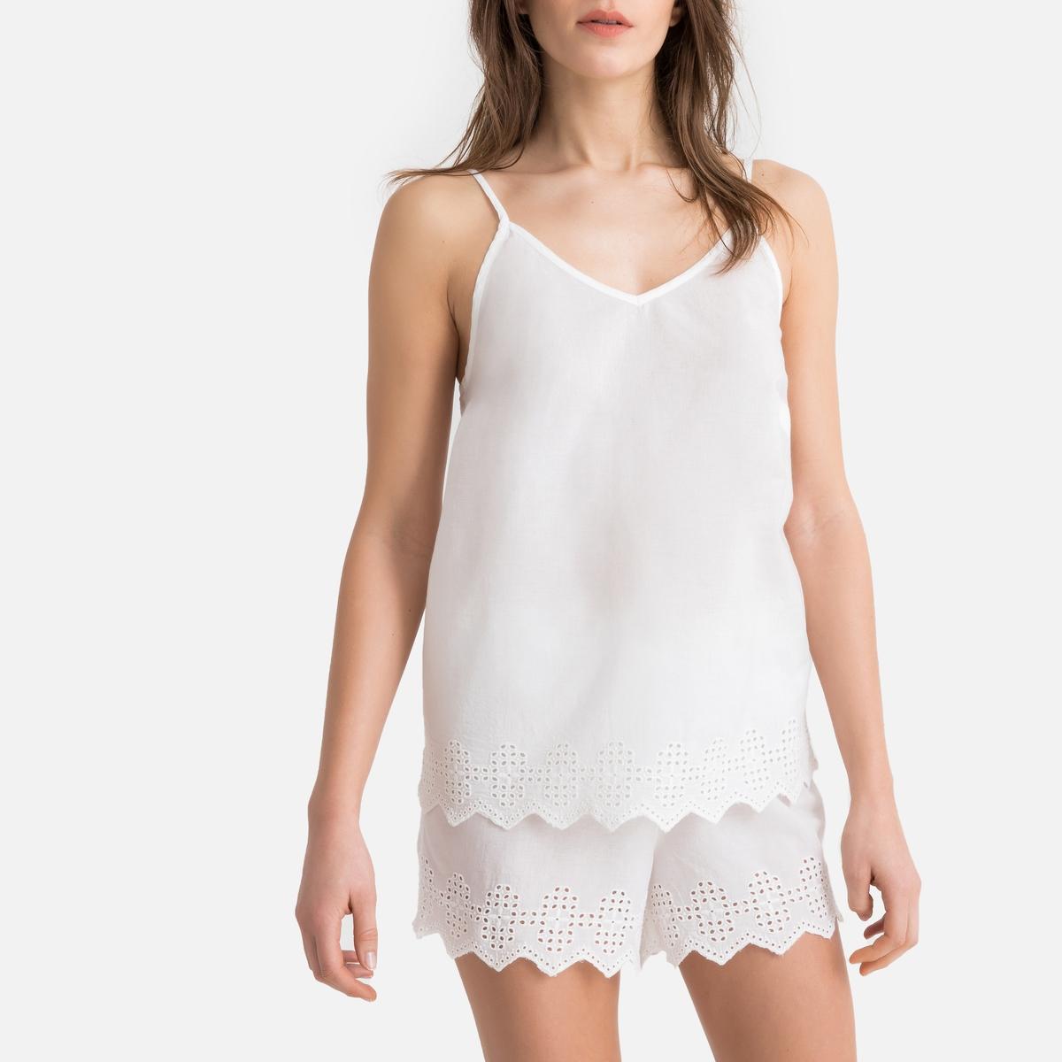Pijama con short 100% algodón, con acabado bordado
