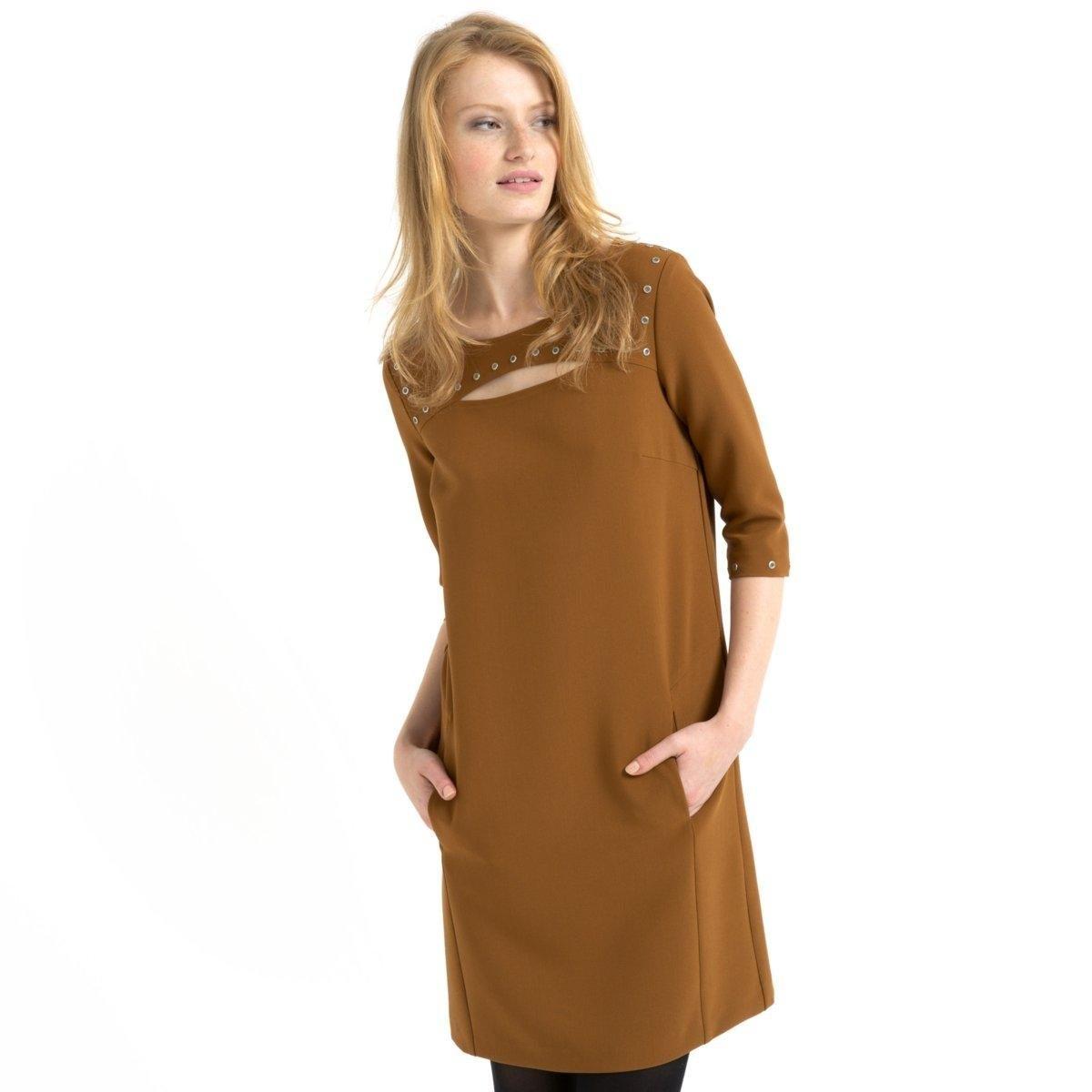 Платье с рукавами 3/4 и заклепками<br><br>Цвет: охра<br>Размер: 38 (FR) - 44 (RUS)