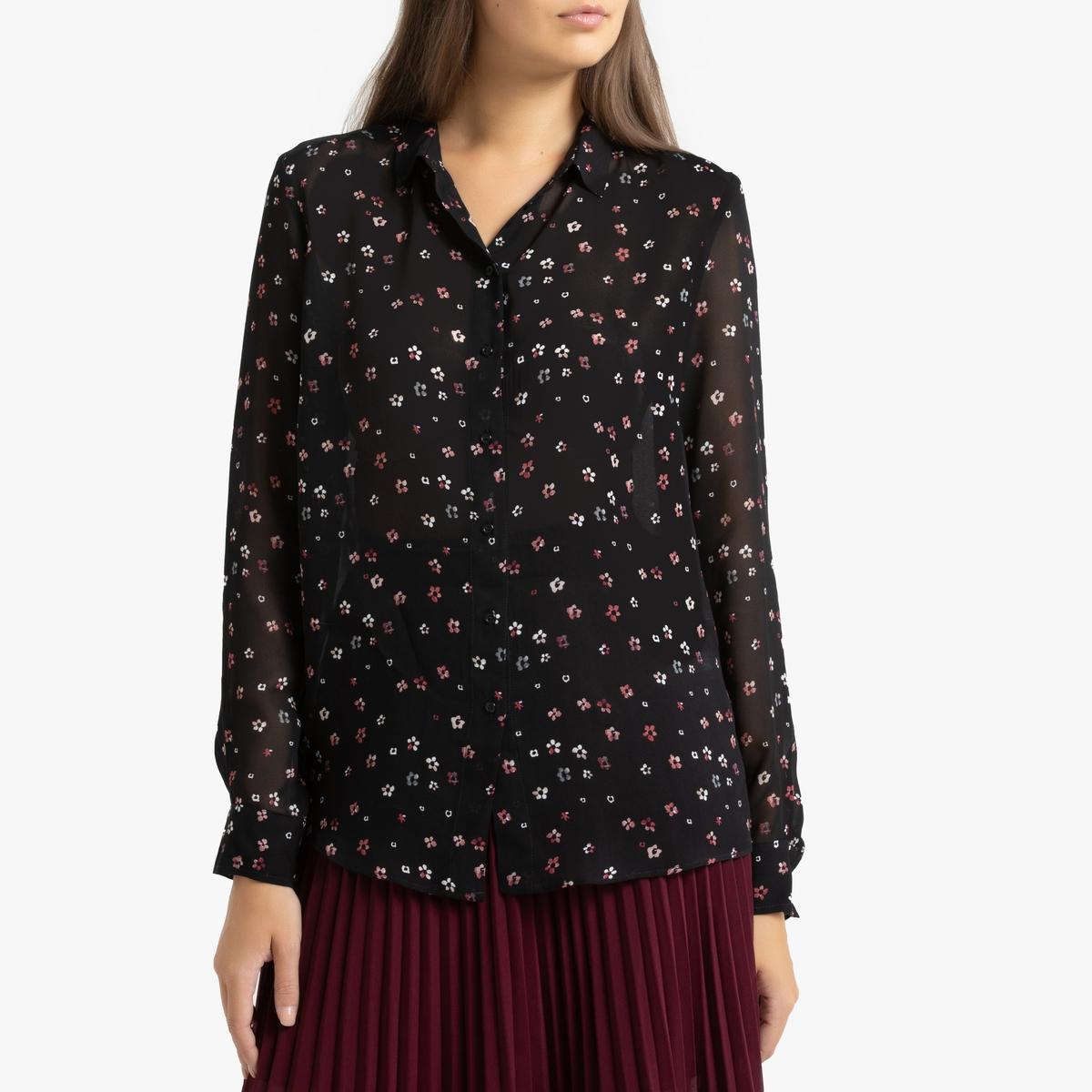 все цены на Рубашка La Redoute Из вуали с принтом и длинными рукавами 42 (FR) - 48 (RUS) черный онлайн