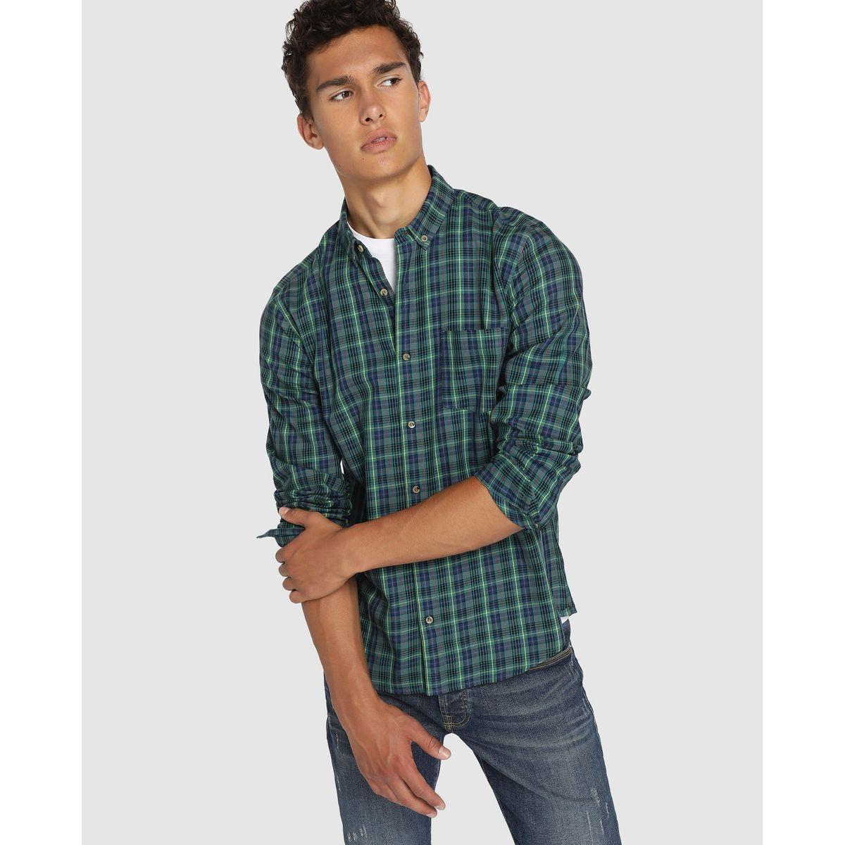 Chemise en vileya slim à carreaux