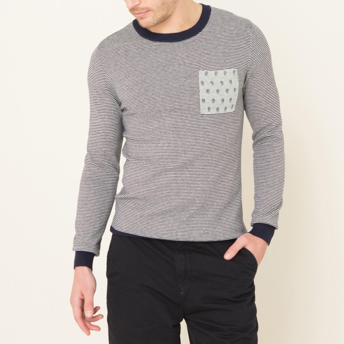 Пуловер в тонкую полоскуСостав и описание    Материал : 92% хлопка, 8% шерстиМарка : SCOTCH AND SODA<br><br>Цвет: серый