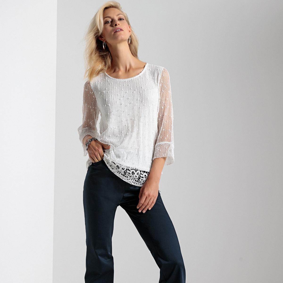 Пуловер-туника из двух материалов от ANNE WEYBURN