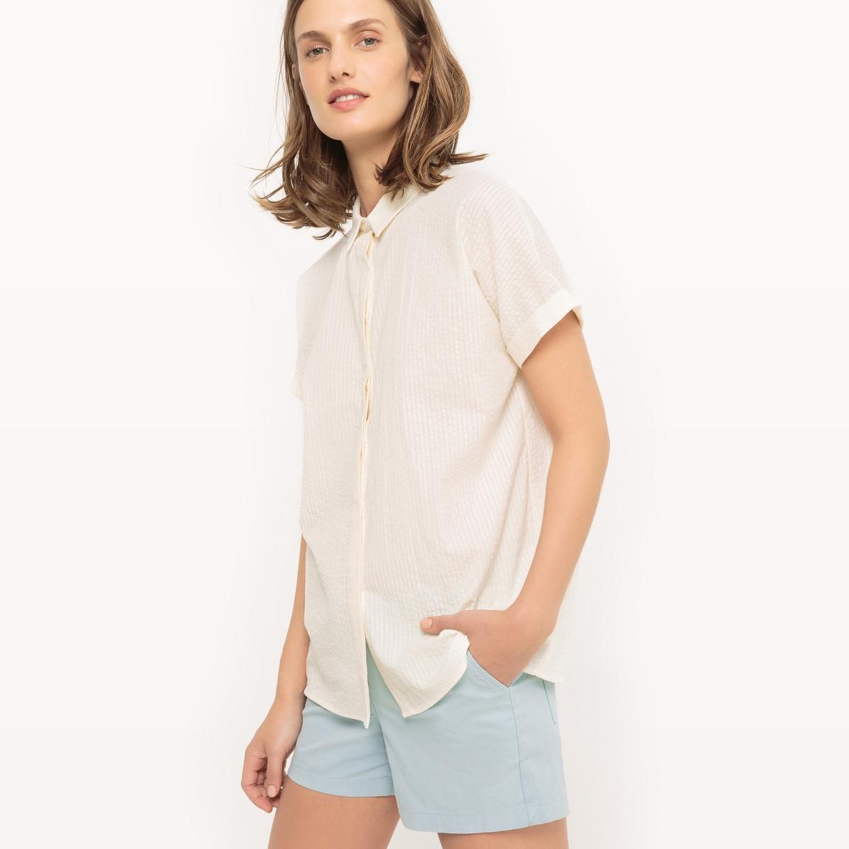 Рубашка с короткими рукавами из гофрированной ткани