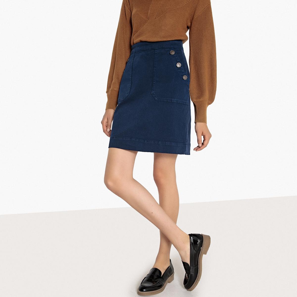 Falda de denim 2 bolsillos tipo parche