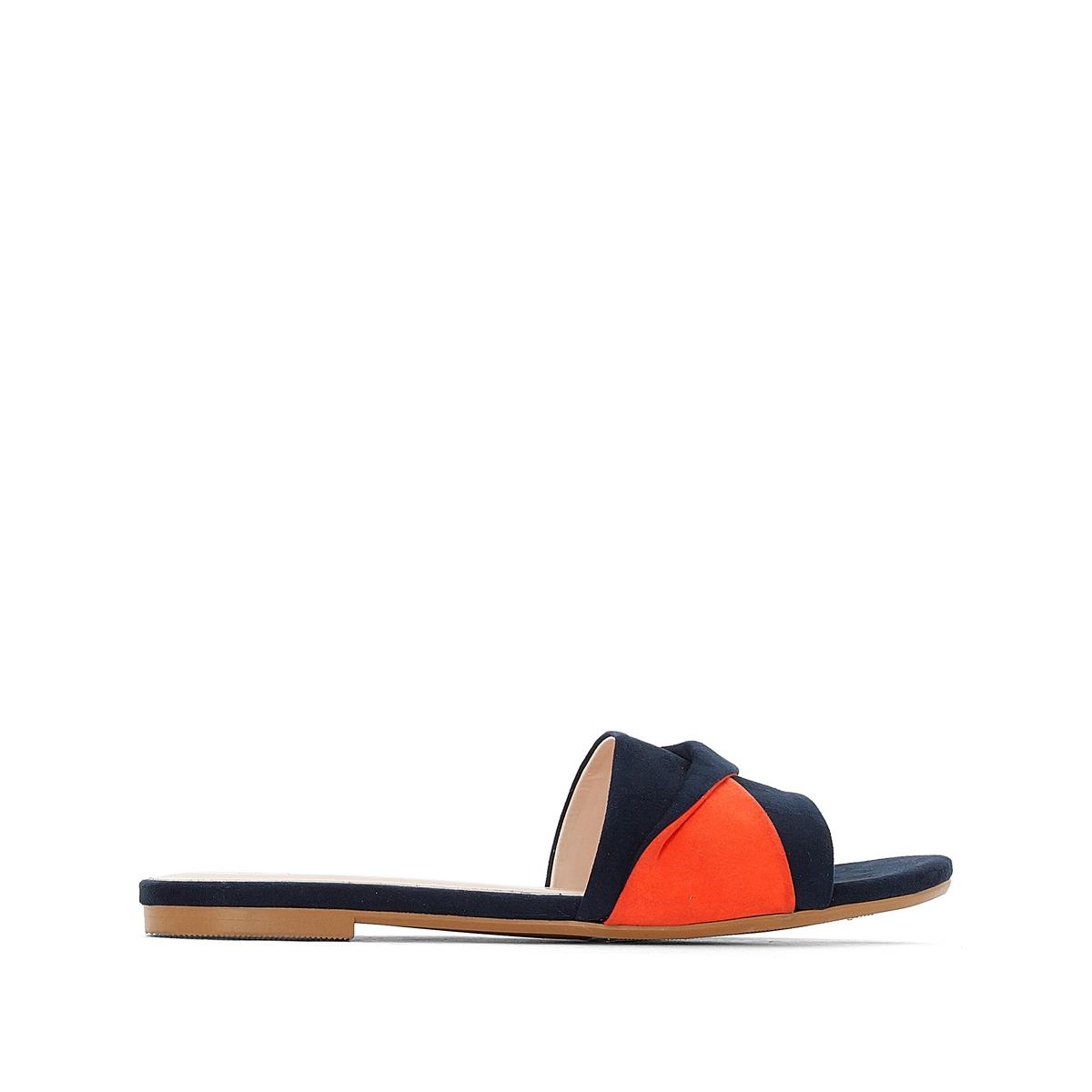 Туфли без задника с двухцветной лентой