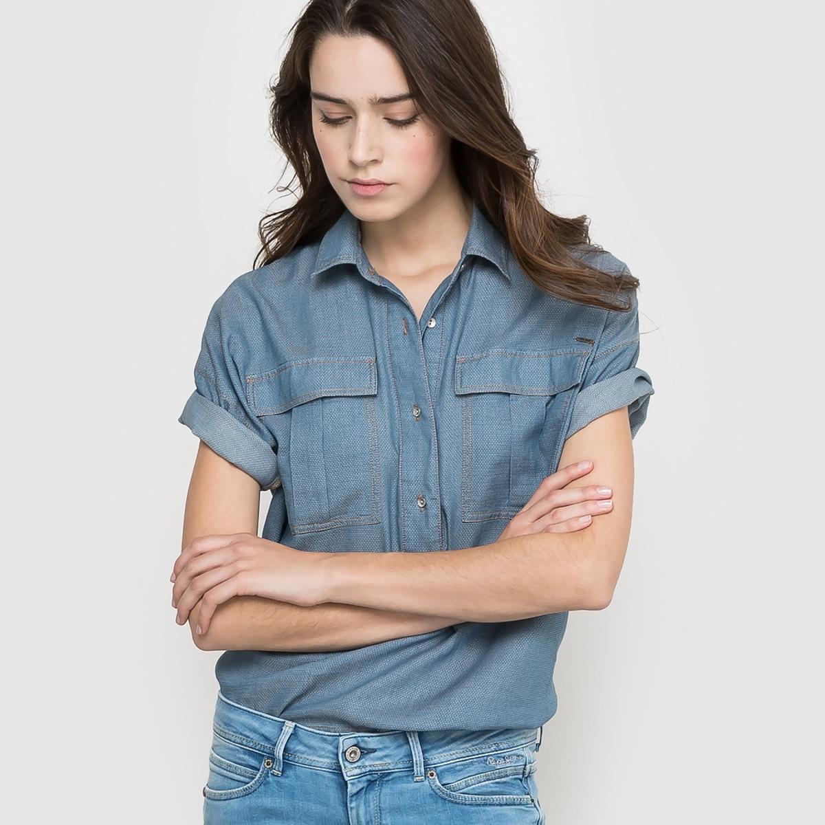 Рубашка с короткими рукавамиРубашка. 100% хлопка. Короткие рукава с отворотами. Накладные карманы спереди. Длина 58 см .<br><br>Цвет: синий индиго<br>Размер: M.S