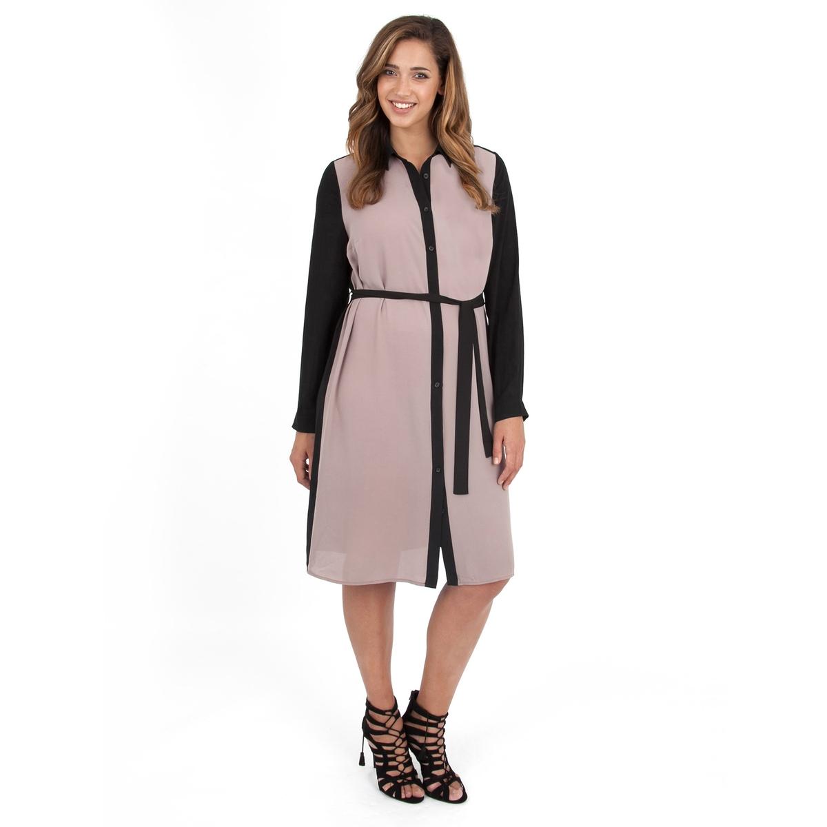 Платье-рубашкаПлатье с длинными рукаавами - LOVEDROBE. Красивое платье-рубашка с ремнем на поясе. Длина ок.104 см. 100% полиэстера.<br><br>Цвет: бежевый/ черный<br>Размер: 50/52 (FR) - 56/58 (RUS).48 (FR) - 54 (RUS)