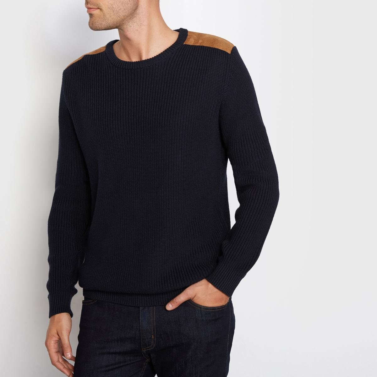 Пуловер из хлопка в рубчик, высокий воротник, вставки на плечах