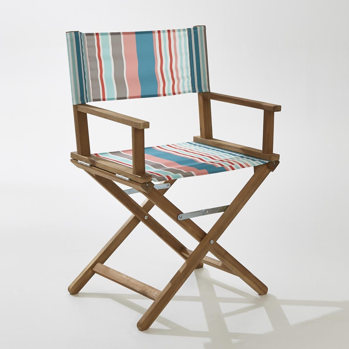 Кресло кинорежиссераВ саду и дома, режиссерское кресло производит сильное впечатление.Характеристики кресла :Из акации с масляной пропиткой. - Покрытие  100% полиэстера .- Полностью складное .Поставляется  собранным, в сложенном виде .Размеры :- Общие: L56/57,5 x H88 x P43 см. Это кресло кинорежиссера для экстерьера может быть доставлено (без доплаты), если необходимо, до вашей квартиры.Вы можете обменять или вернуть кресло в течение 15 дней, предварительно оговорив это при покупке.<br><br>Цвет: в полоску разноцветный