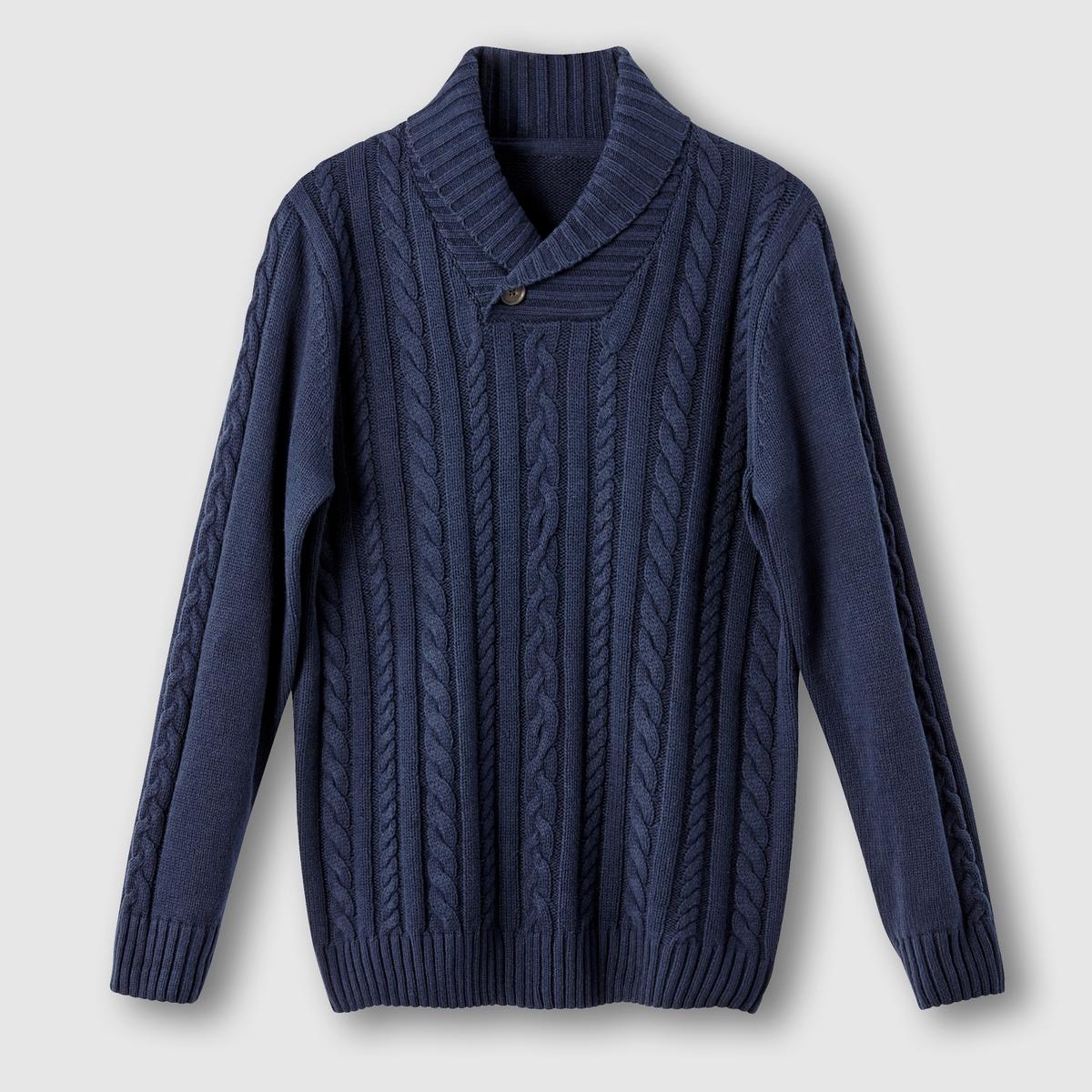 Пуловер с узором косыПуловер с узором косы. Длинные рукава. Шалевый воротник на пуговицах. Оригинальный трикотаж с узором косы спереди. Рукава и спинка из однотонного трикотажа. Из трикотажа 60% хлопка, 40% акрила. Длина 72 см.<br><br>Цвет: темно-синий<br>Размер: 78/80