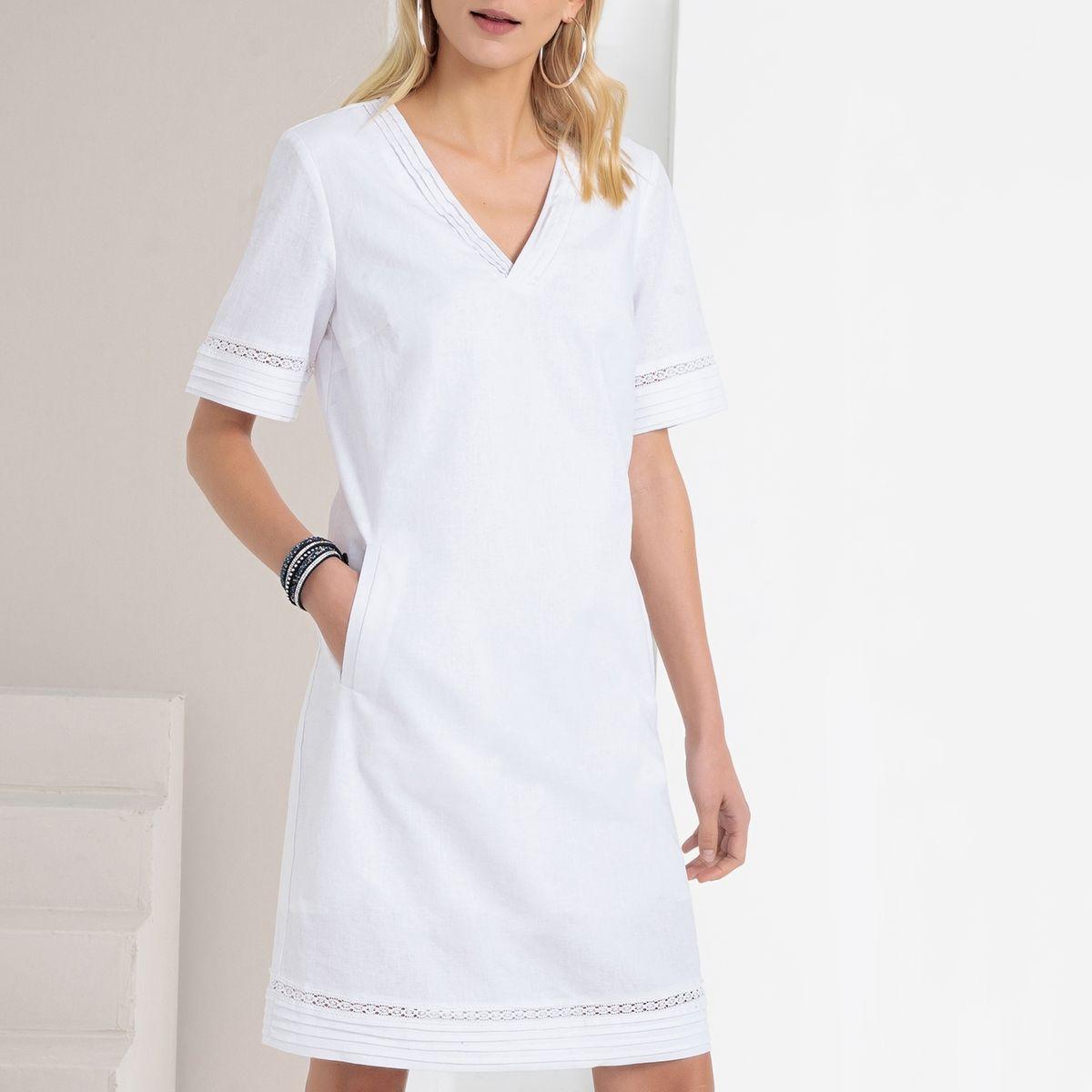 Robe droite, coton & lin, manches courtes