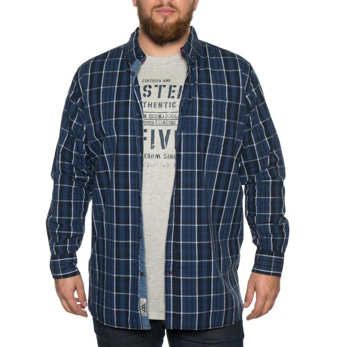 Chemise a carreaux warwick bleu avec un t-shirt gris