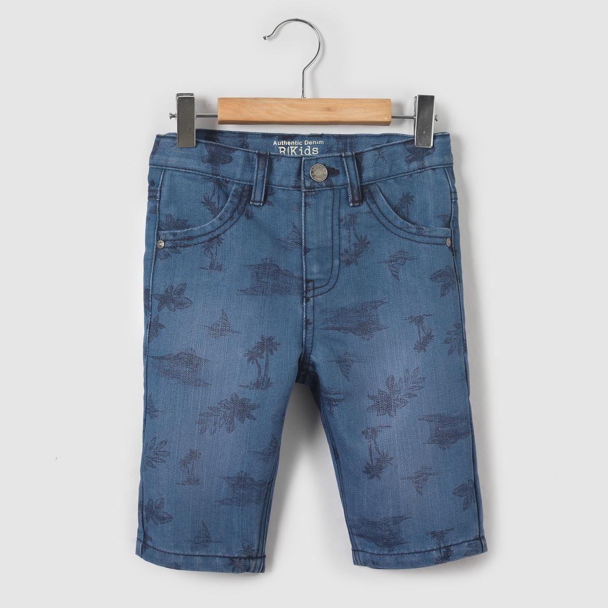 Бермуды джинсовые с рисунком,  3-12 лет