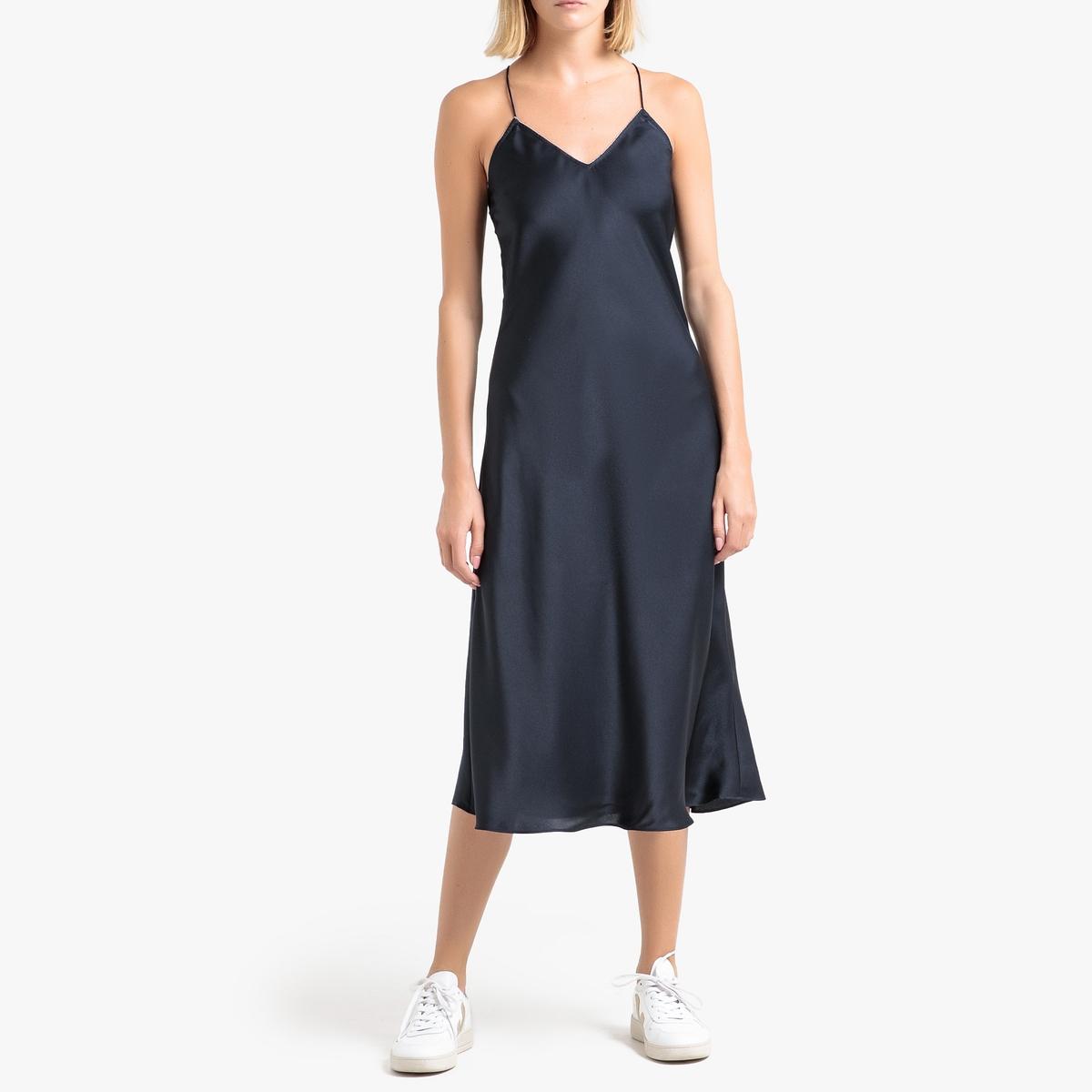 Платье La Redoute Прямое струящееся CIENNA 2(M) синий цена