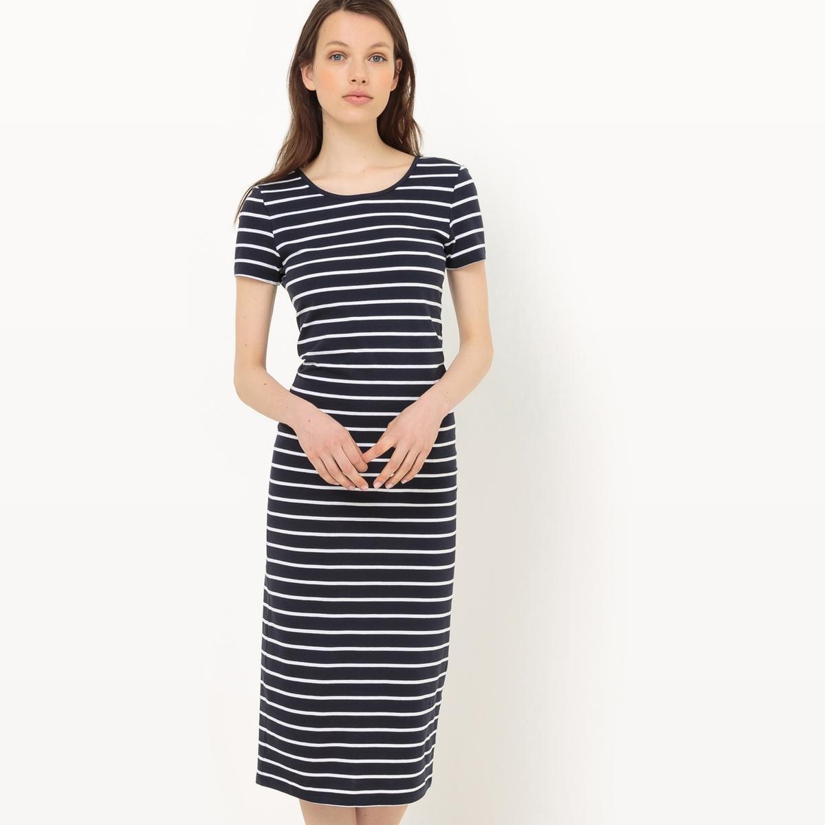 Платье в полоскуМатериал : 100% хлопок   Длина рукава : короткие рукава   Форма воротника : круглый вырез  Покрой платья : платье прямого покроя     Рисунок : в полоску Длина платья : длинное<br><br>Цвет: темно-синий в белую полоску
