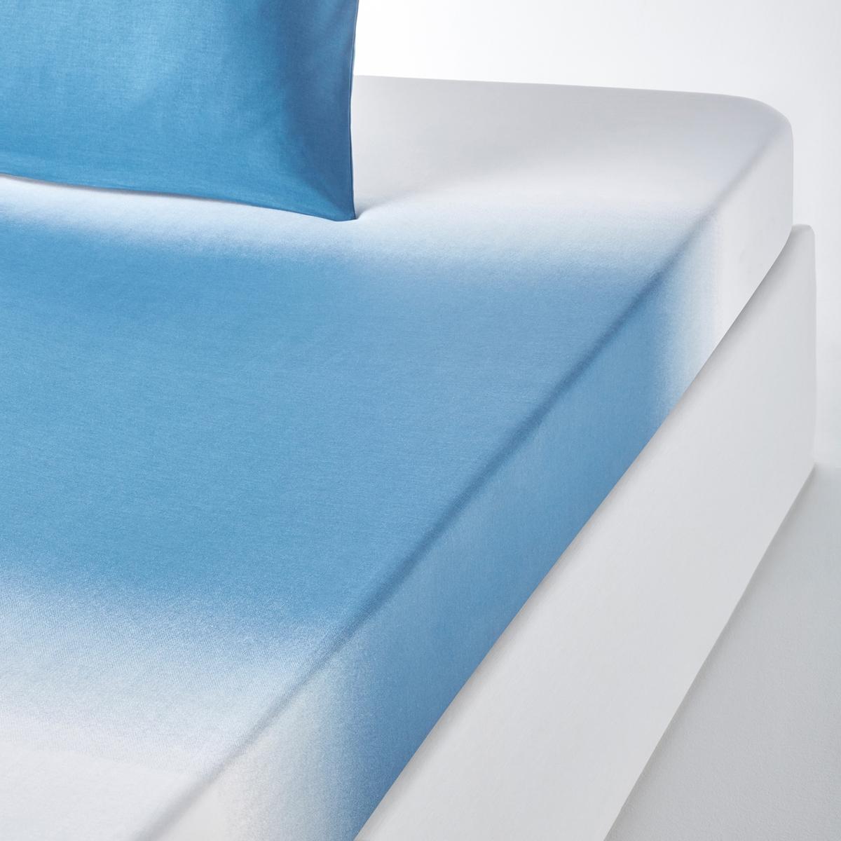 Простыня натяжная  OMBRE 57 нитей/cм?Простыня OMBRE : переход от голубого к белому.Характеристики простыни OMBRE :100% хлопок (57 нитей/см?) : чем больше нитей/см?, тем выше качество материала.Простыня с горизонтальным переходом от голубого к беломуВесь комплект белья OMBRE можно найти на laredoute.ruЛегкость ухода :Машинная стирка при 60 °СЛегкая глажка.Знак Oeko-Tex® гарантирует отсутствие вредных для здоровья человека веществ в протестированных и сертифицированных изделиях.Размеры :90 x 190 см : 1-сп.140 x 190 см : 2-сп.160 x 200 см : 2-сп.180 x 200 см : 2-сп.<br><br>Цвет: синий<br>Размер: 160 x 200  см