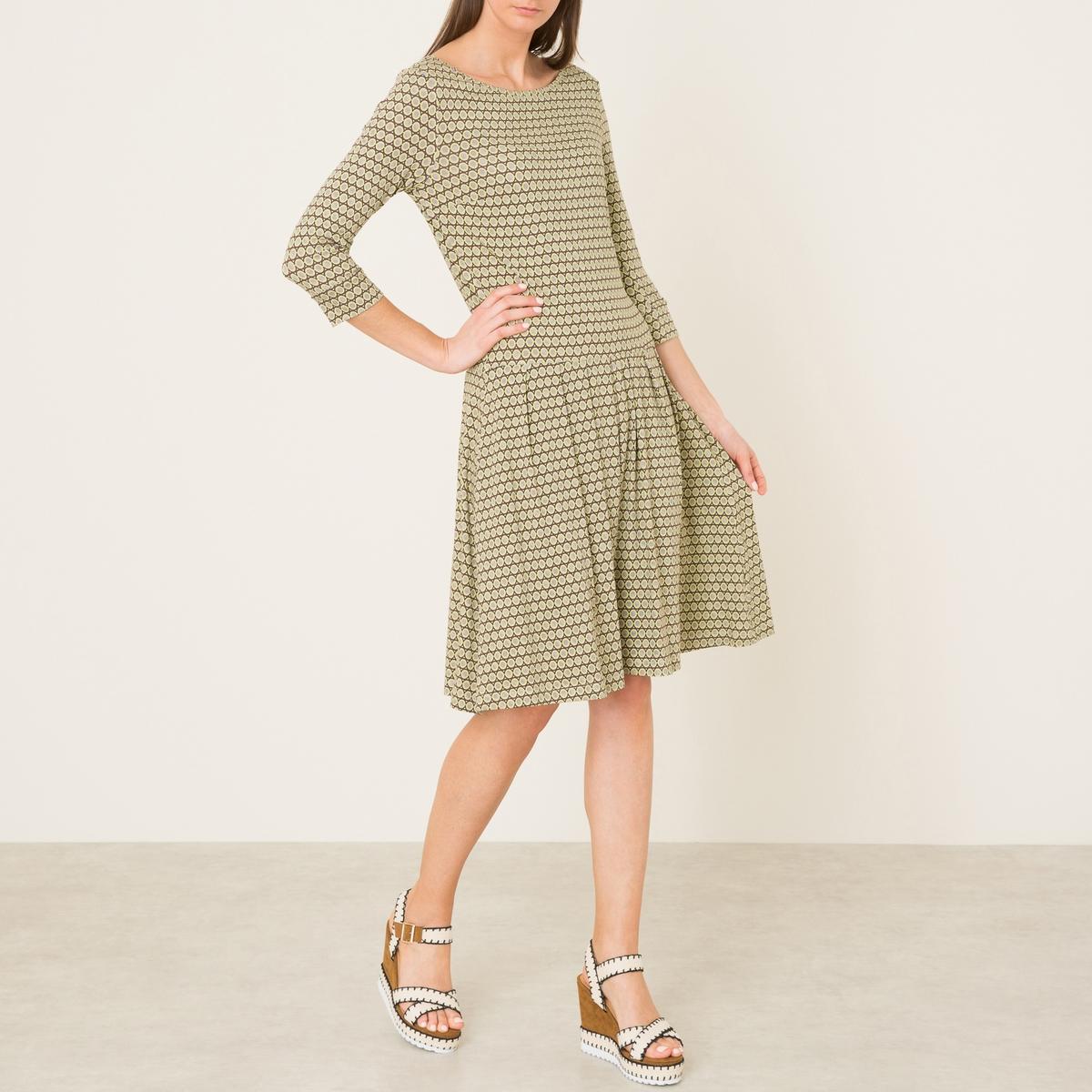 Платье из трикотажа с принтомСостав и описание    Материал : 97% вискозы, 3% эластана   Марка : NIU<br><br>Цвет: рисунок/желтый