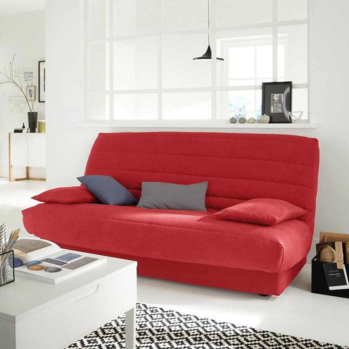 Чехол LaRedoute Для раскладного дивана из искусственной замши единый размер красный