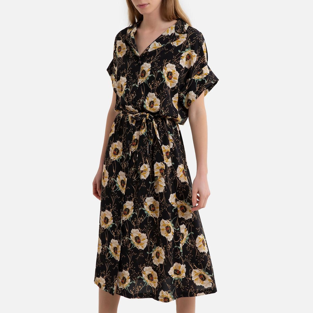 Платье-рубашка La Redoute С принтом с короткими рукавами BRAVO S черный цена 2017