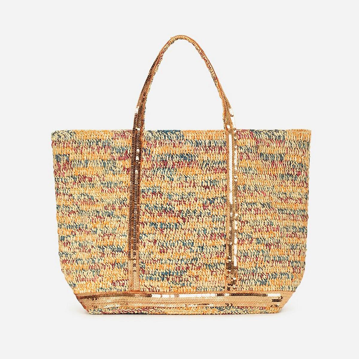 Фото - Сумка-шоппер La Redoute Средняя из рафии и пайеток единый размер разноцветный сумка шоппер средняя из парусины с блестками