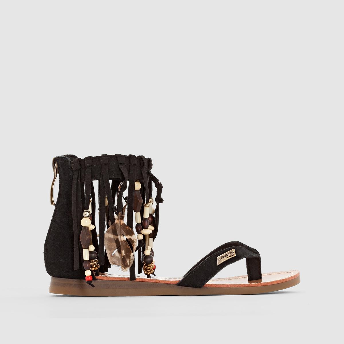 Сандалии кожаные LES TROPEZIENNES, GopakПреимущества:   : сандалии LES TROPEZIENNES  с перемычкой в стиле вьетнамок и каблуком на молнии используют все возможности, чтобы покорить вас в этом сезоне  .<br><br>Цвет: черный