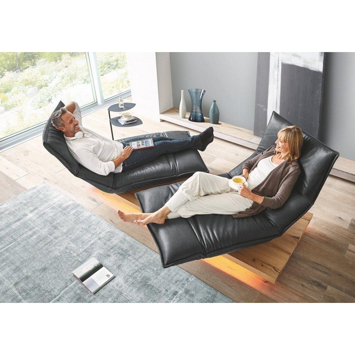 Banc canapé design en cuir double méridien décontracté ANDERSON DAY LOUNGE noir
