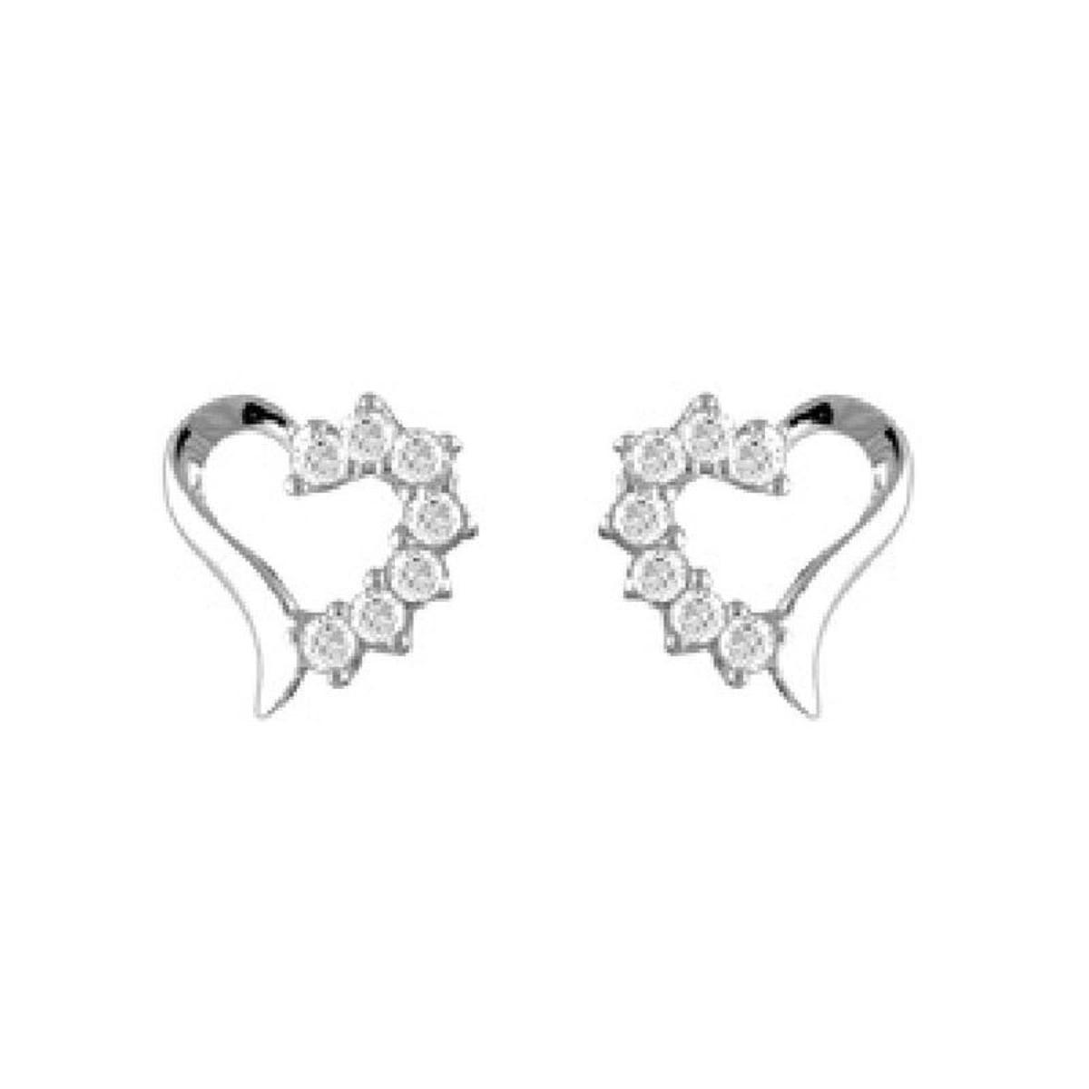 Boucles d'oreilles Coeur Blanc Argent 925