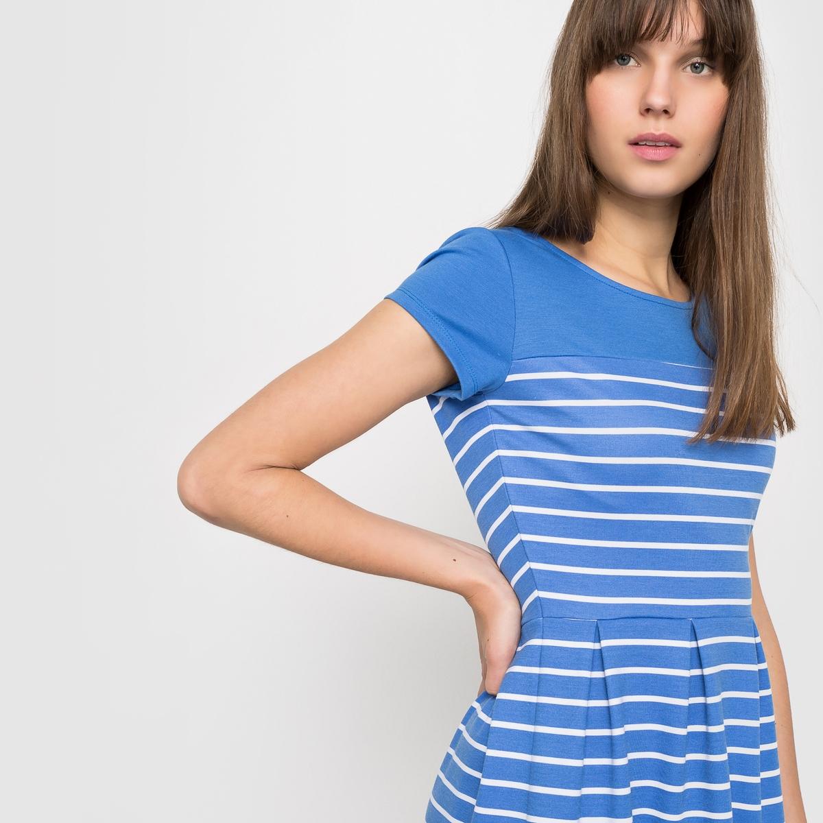 Платье в полоску с короткими рукавами из трикотажа миланоПлатье из трикотажа милано в полоску. Короткие рукава . Круглый вырез . Открытая спина.Состав и характеристики:материал: 75% полиэстера, 20% вискозы, 5% эластана,длина 90 см.УходМашинная стирка при 30°С<br><br>Цвет: голубой в полоску<br>Размер: 48 (FR) - 54 (RUS).42 (FR) - 48 (RUS).44 (FR) - 50 (RUS)