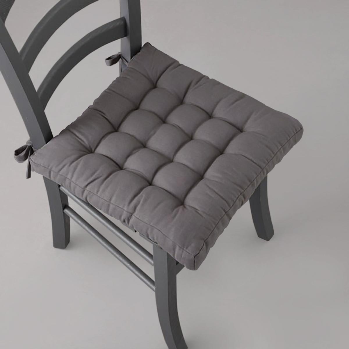 Подушка для стулаКрасивая, мягкая и удобная подушка для стула SCENARIO: различные цвета для интерьерных решений! Характеристики подушки для стула:-  ВЫСОКОЕ КАЧЕСТВО изготовления и отделки.- Верх из прочного и легкого в уходе полотна, 100% хлопка (220 г/м?). - Наполнитель: 100% хлопка, толщина 3 см. - Крепится на стул с помощью завязок. 68 x 140 см: 40 x 40 см. Сертификат Oeko-Tex® дает гарантию того, что товары изготовлены без применения химических средств и не представляют опасности для здоровья человека.Серию чехлов и подушек для стульев, банкеток, кресел и диванов различных цветов Вы найдете на сайте laredoute.ru. Отличный способ освежить интерьер!<br><br>Цвет: антрацит,белый,медовый,рубиново-красный,серо-коричневый каштан,сине-зеленый,сливовый