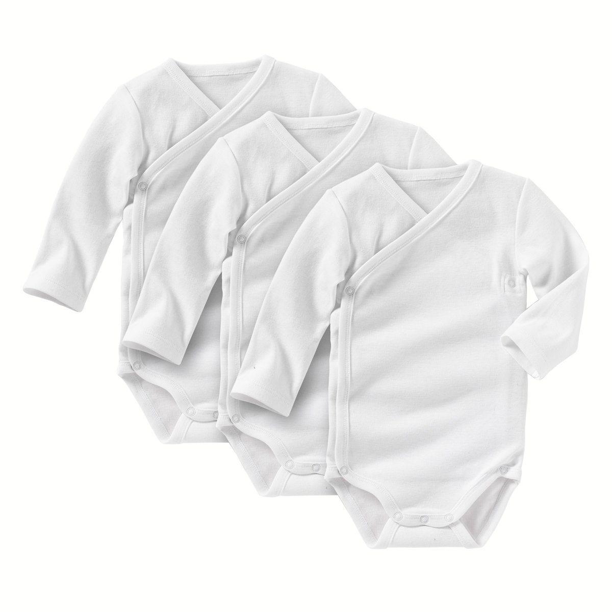 Комплект из 3 боди на возраст от 0 месяцев до 3 летБоди с длинными рукавами, 100% хлопка. Застежка спереди и застежка на кнопки по внутр.шву.<br><br>Цвет: белый