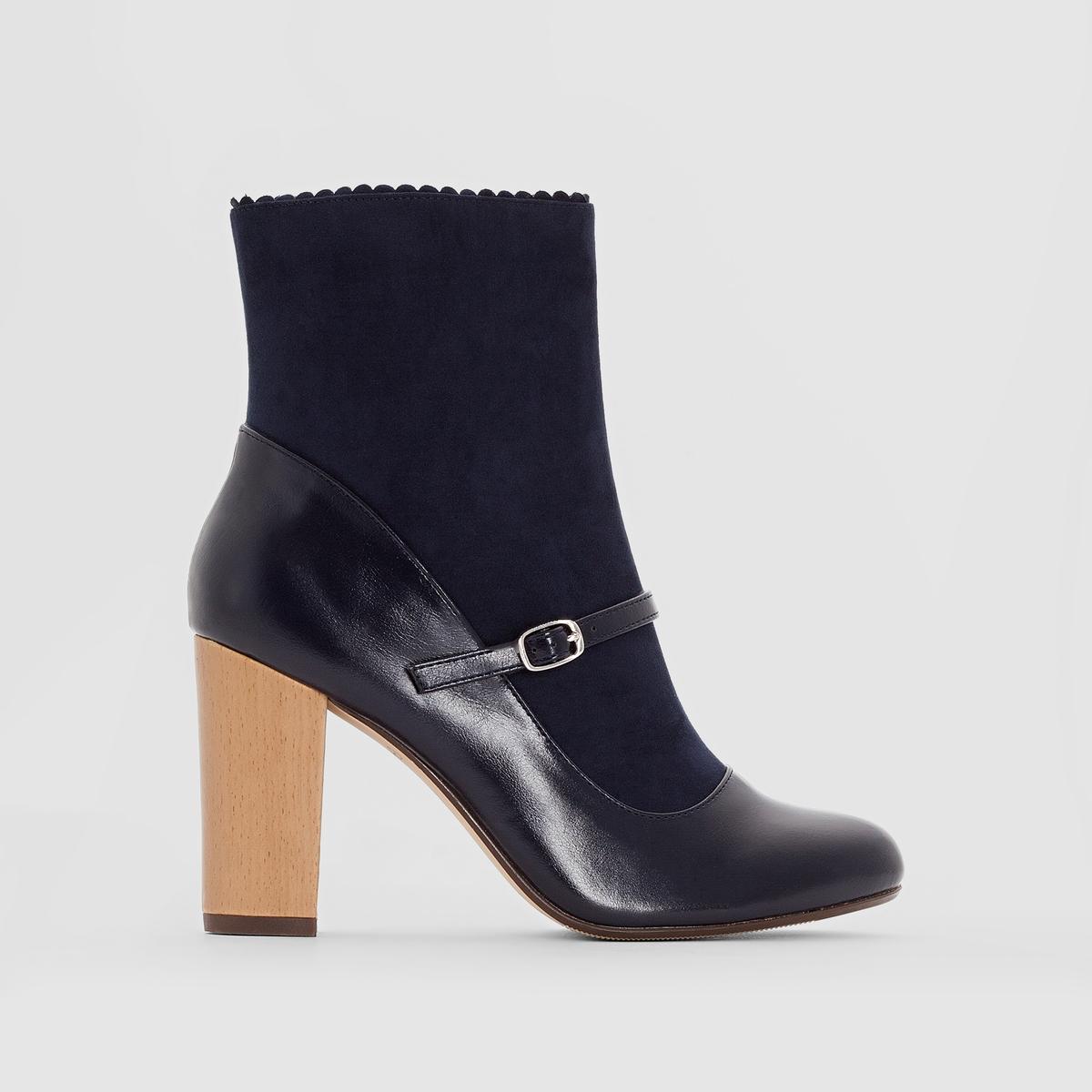 Ботильоны кожаные, каблук под деревоПодкладка : кожа и текстиль     Стелька : кожа     Подошва : эластомер     Высота каблука : 8,5 см.     Форма каблука : широкий     Мысок : закругленный     Застежка : молния сбоку     Марка: Mademoiselle R.<br><br>Цвет: красный темный,темно-синий<br>Размер: 40.37.37