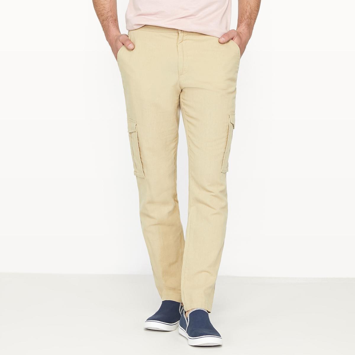 Брюки батл стандартного покроя из льна меланж брюки из лиоцелла и льна