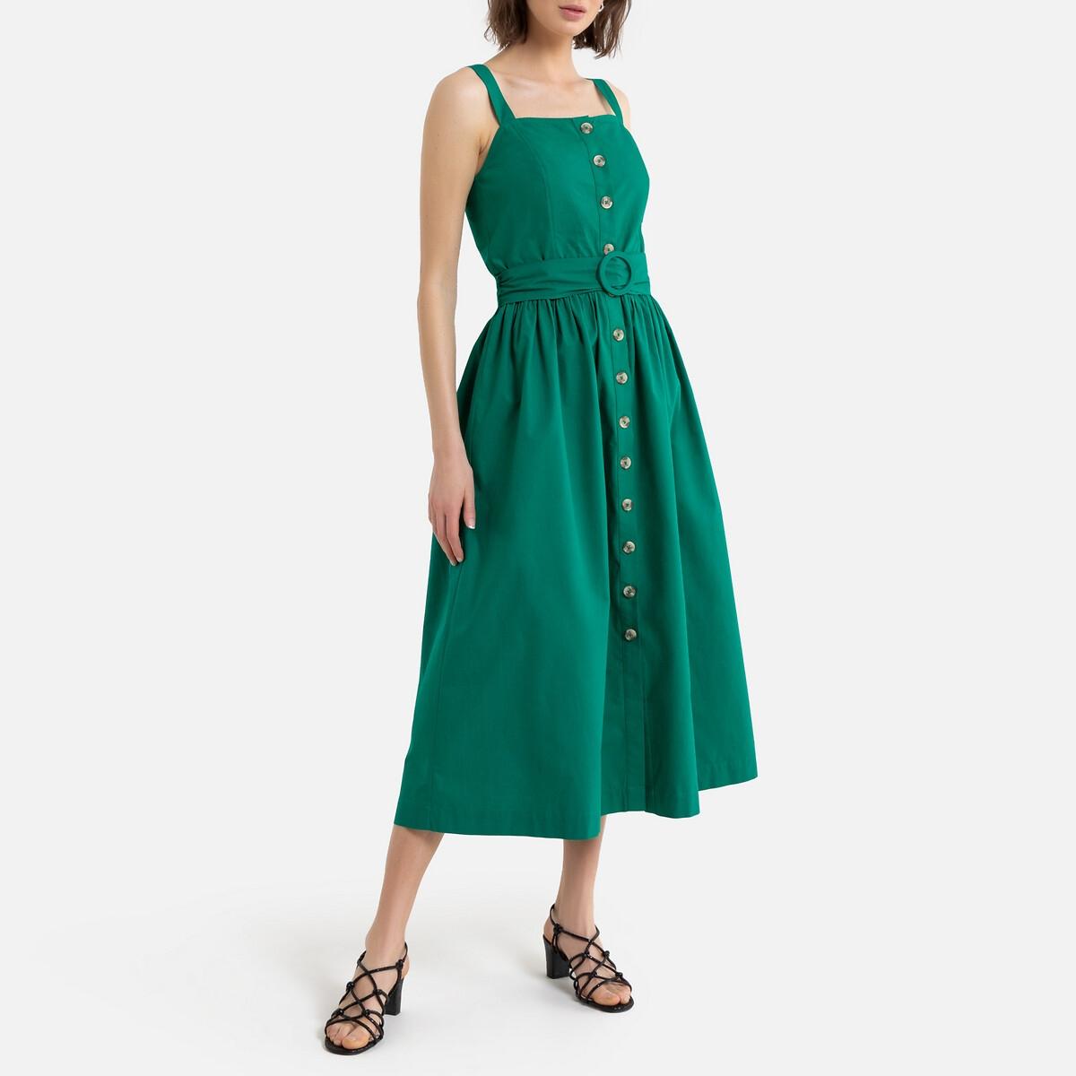 цена Платье-бюстье La Redoute Длинное на тонких бретелях 44 (FR) - 50 (RUS) зеленый онлайн в 2017 году