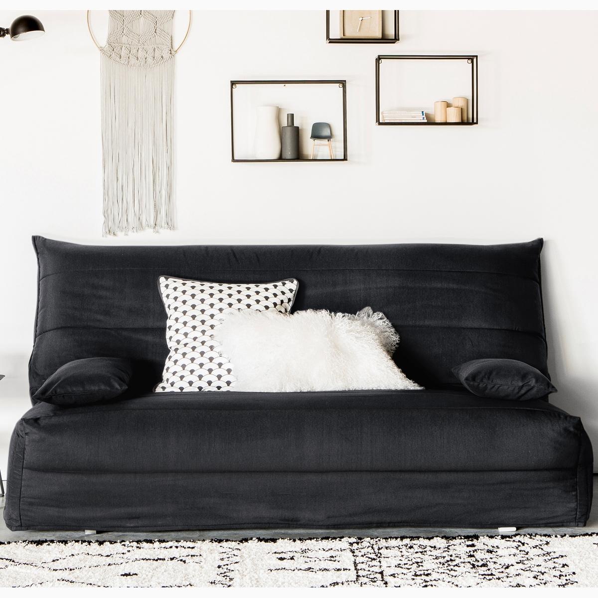 Чехол LaRedoute Стеганый из поликоттона для дивана-аккордеона 160 см черный