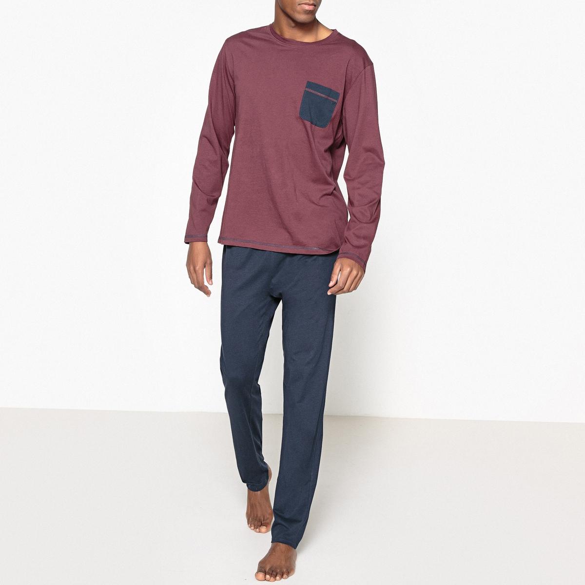 Пижама длиннаяОписание:Длинная мужская пижама изысканной расцветки. Замечательный комфорт и модный классический внешний вид: отличная пижама для отдых. Состав и описание :Мужская пижама, круглый вырез, нагрудный карман. Длинные брюки.Материал : верх 100% хлопокшорты 60% хлопка, 40% вискозыУход :Стирать с вещами схожих цветов при 40° Стирать и гладить с изнаночной стороны при низкой температуре.Машинная сушка запрещена.<br><br>Цвет: синий/серый меланж,темно-синий/бордовый<br>Размер: M.L.XXL.XL.S