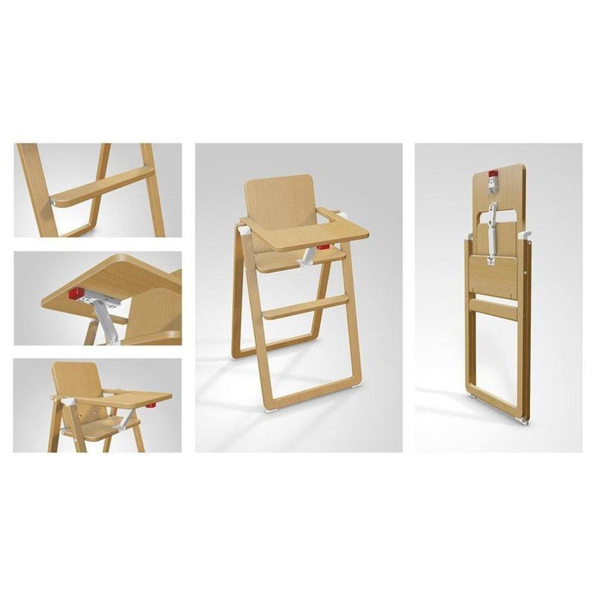 Chaise haute pliante Supaflat hêtre