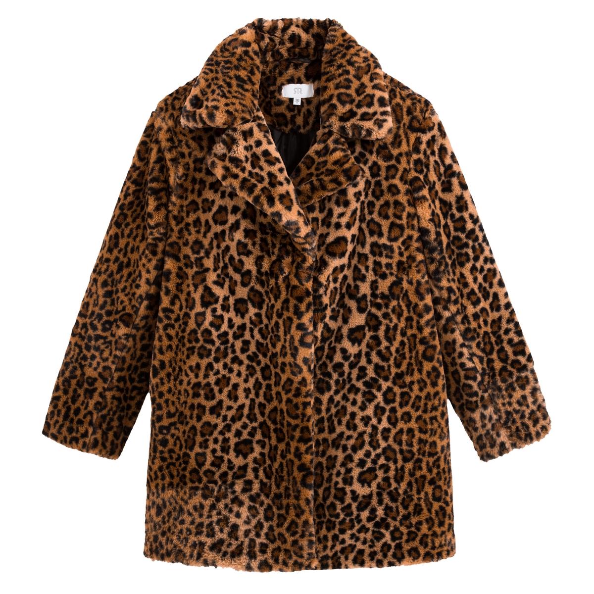 Abrigo semilargo de pelo sintético motivo leopardo
