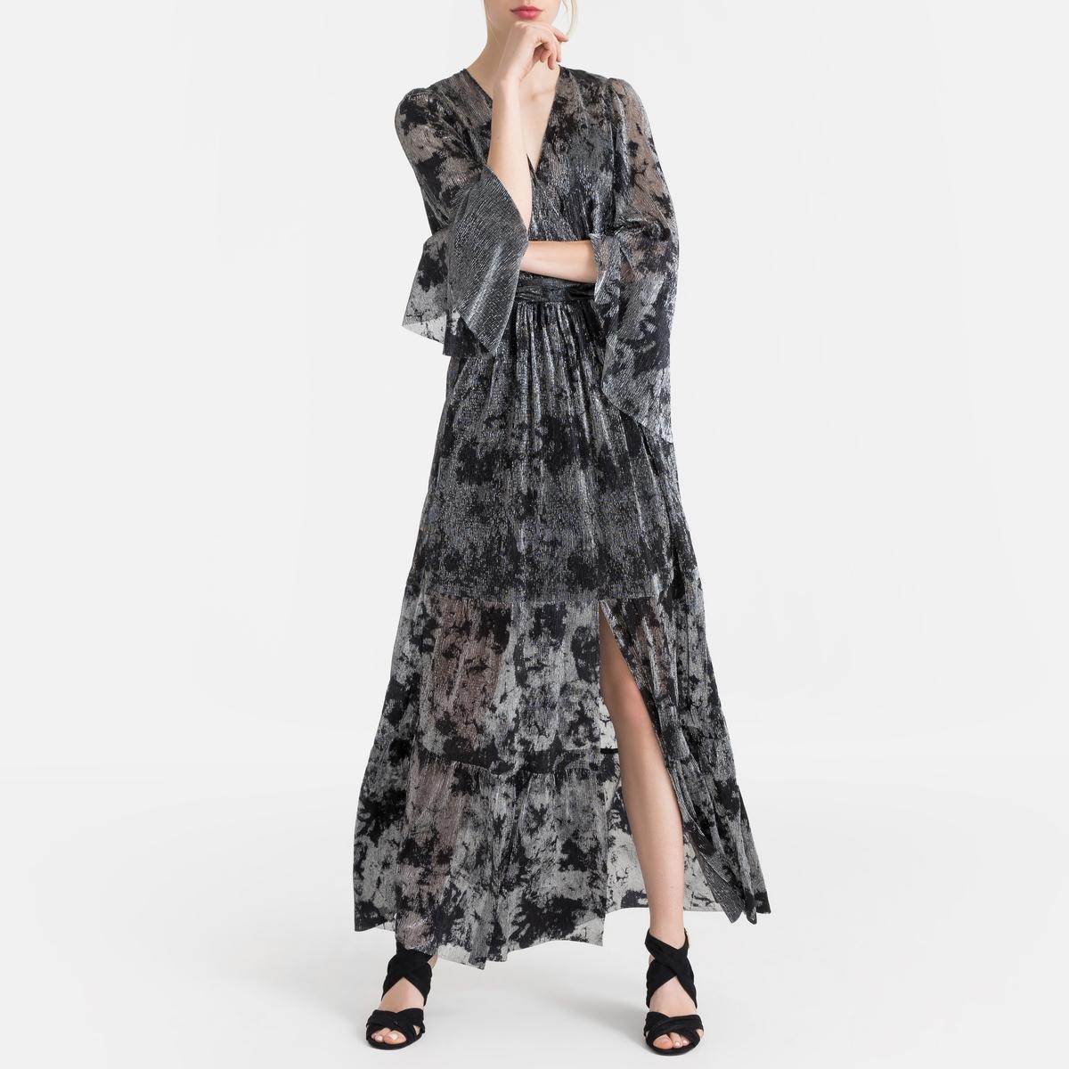 Платье La Redoute Длинное из вуали с принтом VIANCA 2(M) черный платье длинное с запахом с рисунком coming