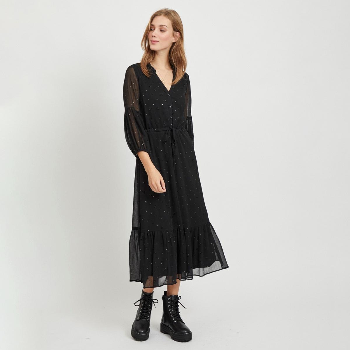 Платье La Redoute Длинное с круглым вырезом с разрезом спереди и рисунком в горошек 34 (FR) - 40 (RUS) черный платье la redoute длинное с цветочным рисунком и напускным эффектом 34 fr 40 rus черный