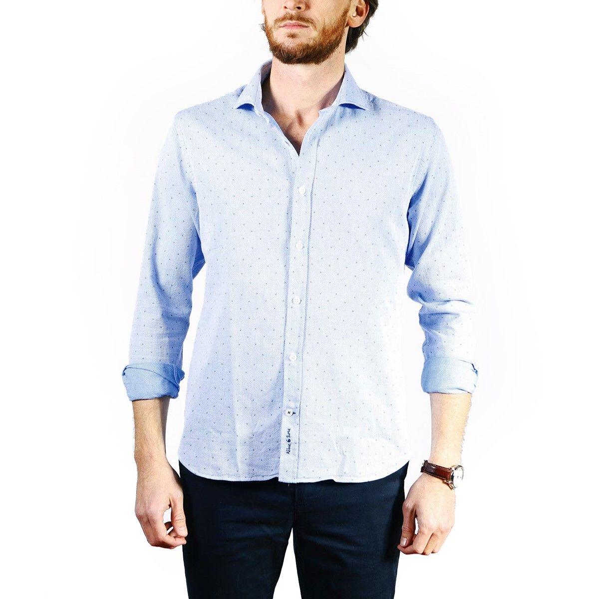 Chemise dobby à micro-motifs col italien