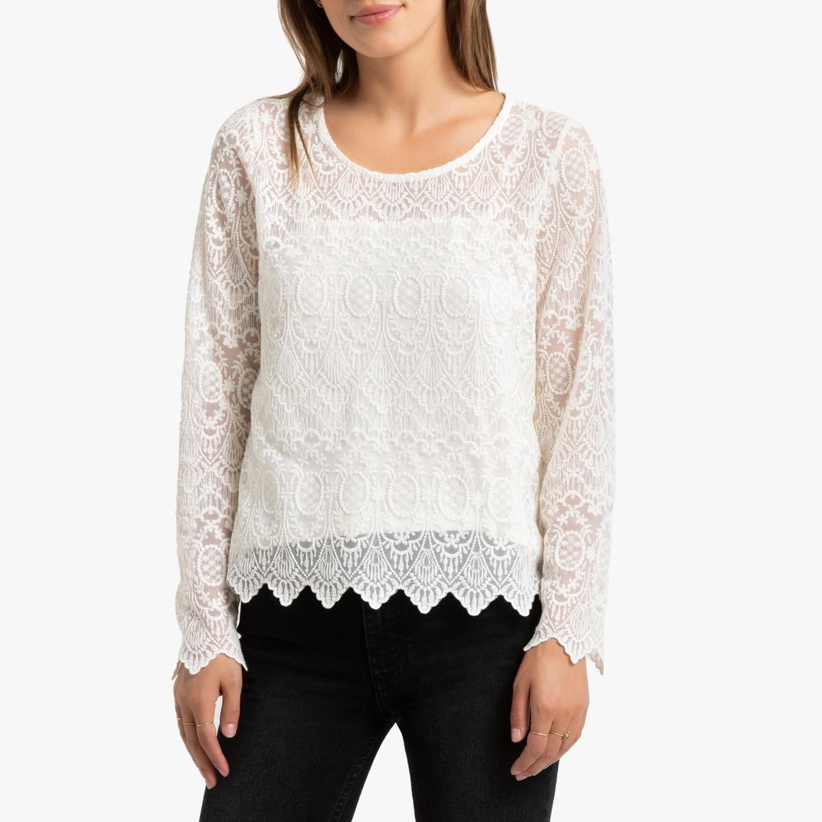 Блузка La Redoute Из кружева с круглым вырезом и длинными рукавами XS бежевый свитшот la redoute с круглым вырезом и вышивкой s черный