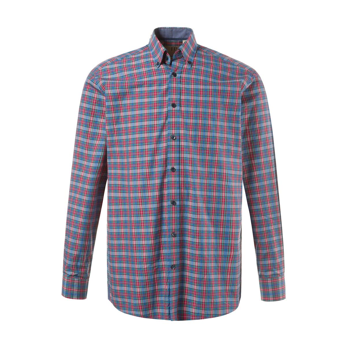 РубашкаРубашка в клетку с длинными рукавами. 100% хлопок.<br><br>Цвет: в клетку<br>Размер: 5XL.3XL.L