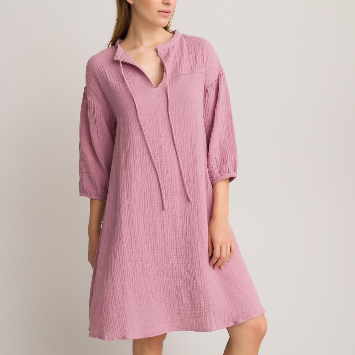 Ночная LaRedoute Рубашка из хлопчатобумажной газовой ткани 40 (FR) - 46 (RUS) розовый